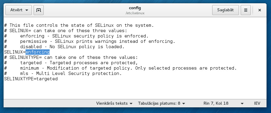 SElinux config file